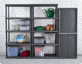 ... painting tools to gardening and c&ing supplies keep everything neatly contained in ShelfTotes. The durable 5 Shelf Shelving Unit can handle it all. & Sterilite - 0155: 5 Shelf Shelving Unit